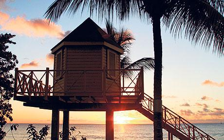 Barbados life guard station at sunset
