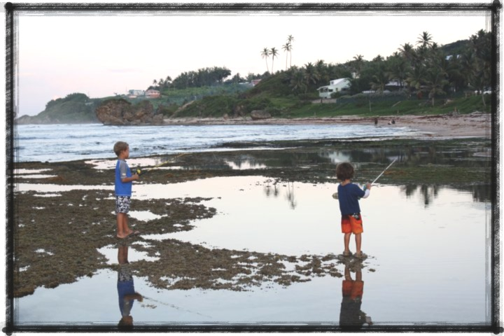 Great place to raise a family-fishing on the rocks in Bathesheba